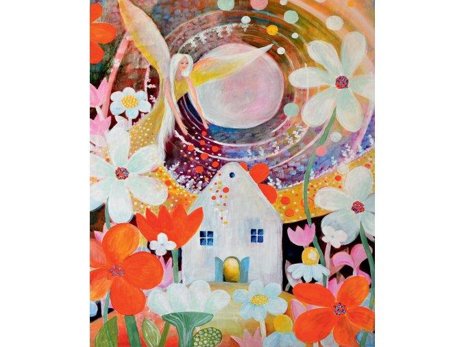 Anděl žehná zahrádkářům - plakát střední (27,2 x 33 cm)